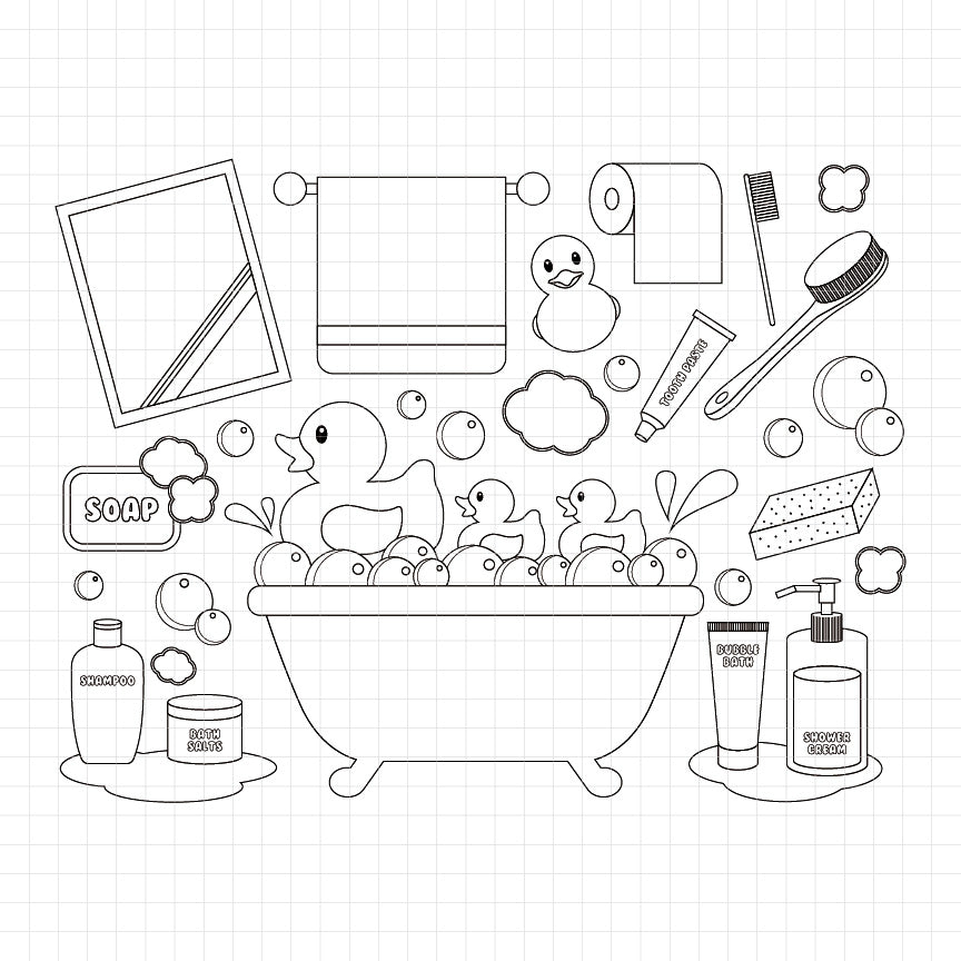 bath time, bathtub, mirror, towel, bathroom, rubber duck, digital stamp, black and white, coloring page
