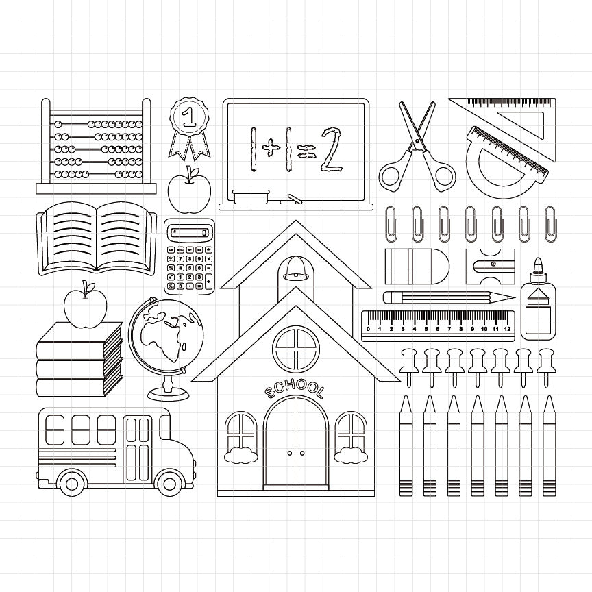 back to school, school building, school bus, school equipment, pencil, scissor, ruller, paper clip, calculator, globe, digital stamp, graphic, black and white illustration, teachers materials