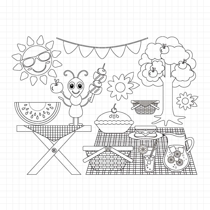 Summer Picnic Digital Stamp