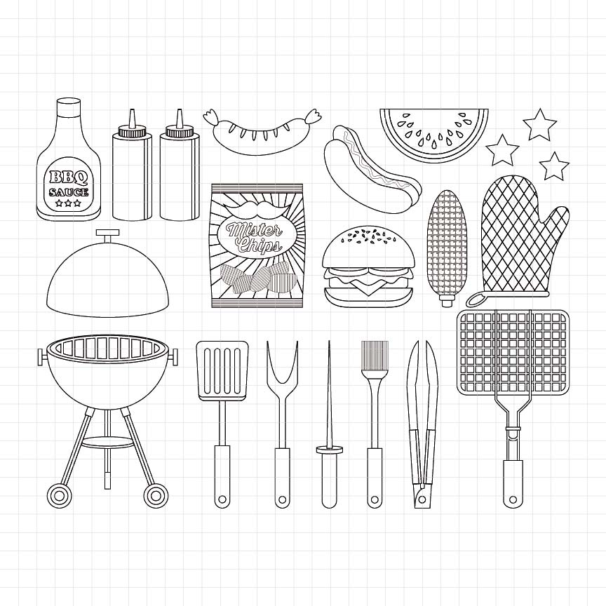 Barbeque Party Digital Stamp
