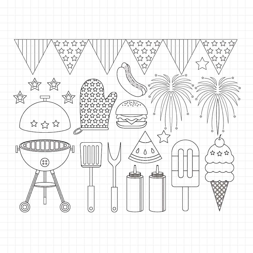 4th of july, fourth of july, independence day, usa, america, united states, american flag, digital stamp, black outline, black and white artwork
