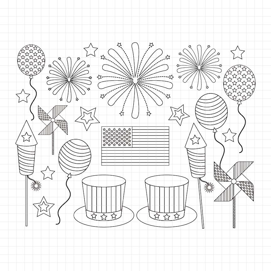 4th of July Digital Stamp