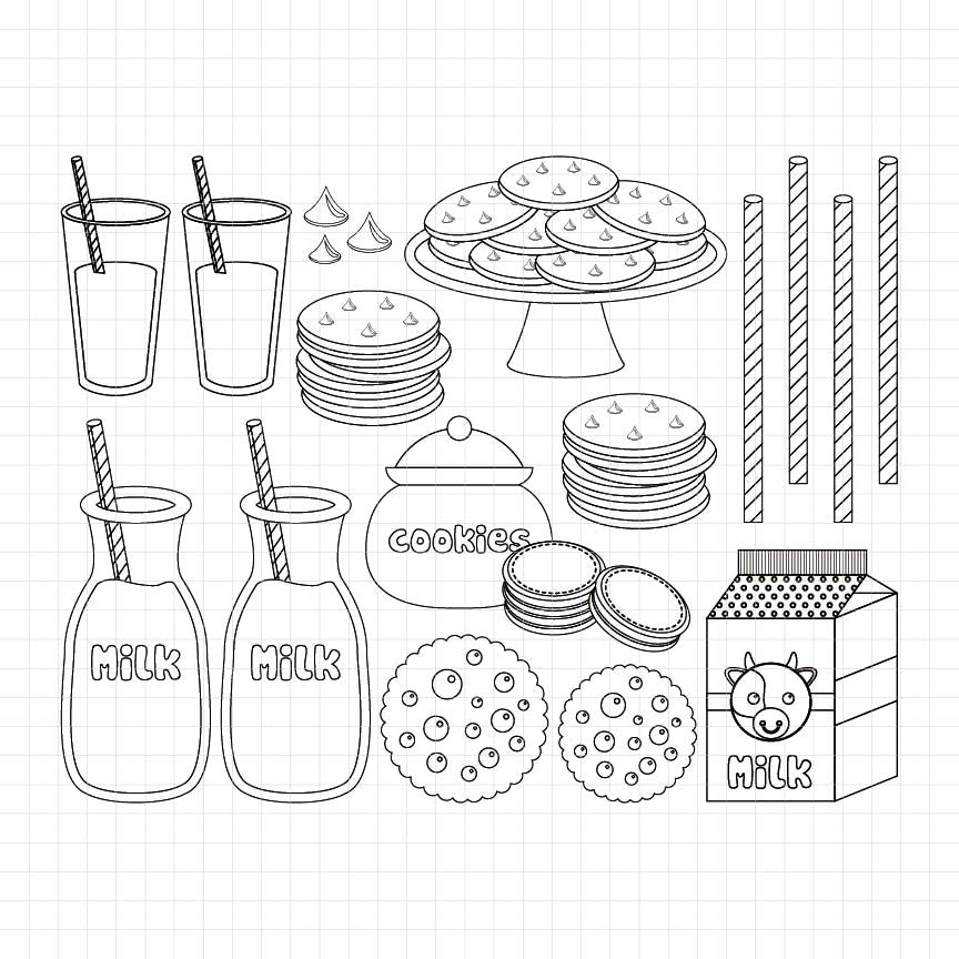 Cookies and Milk Digital Stamp