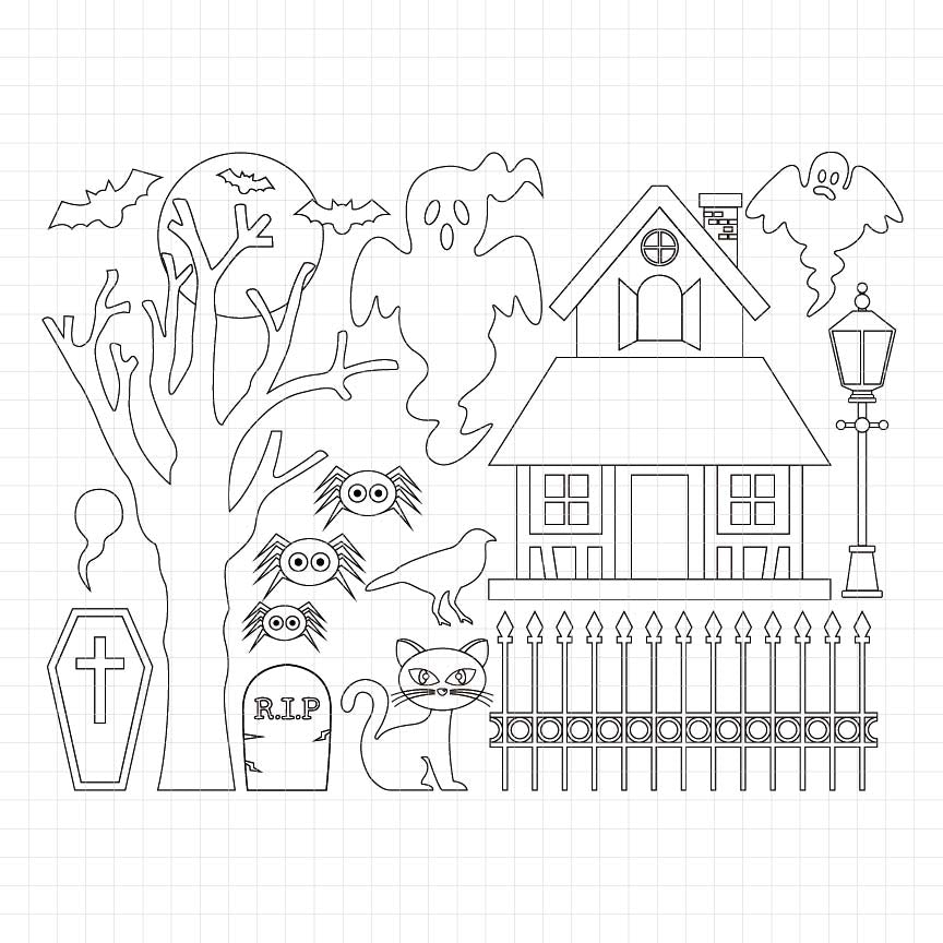 Haunted House Digital Stamp