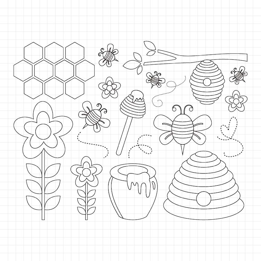 Sweet Honey Bees Digital Stamp