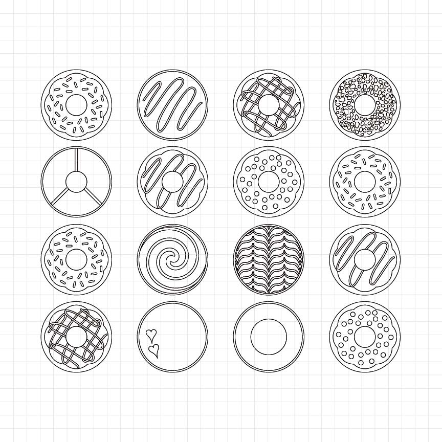 donut, food, sweets, cake, digital stamp, black and white clipart, graphic, craft supplies, scrapbook