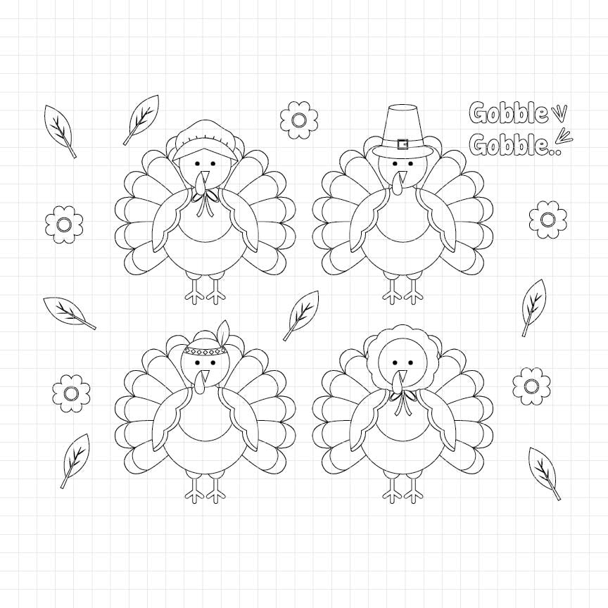 Thanksgiving Turkeys Digital Stamp