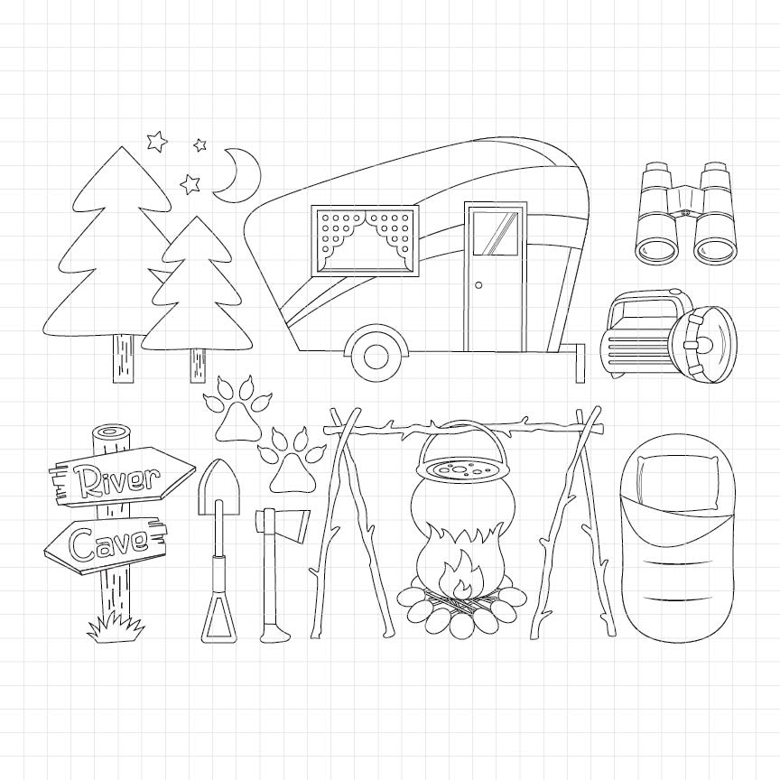 Camping Out Digital Stamp