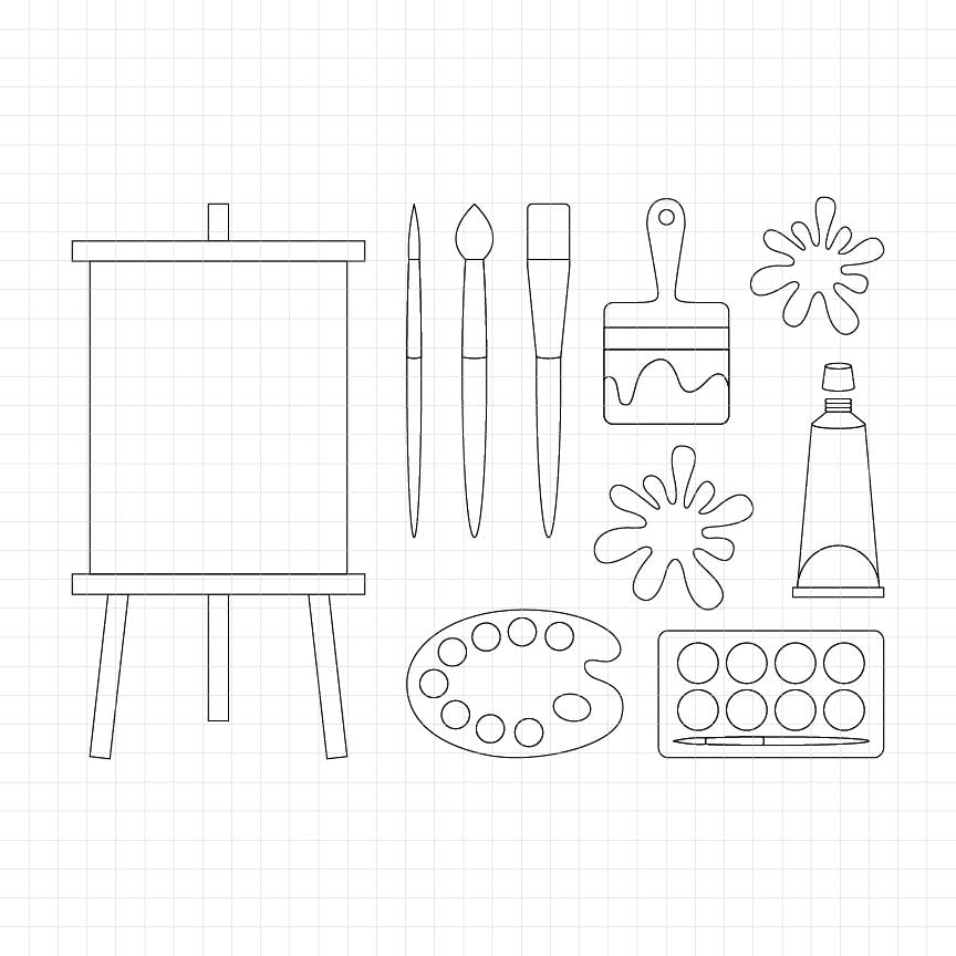painting supplies, art supplies, canvas, paint brush, paint splash, digital stamp, graphic, clipart, illustrations
