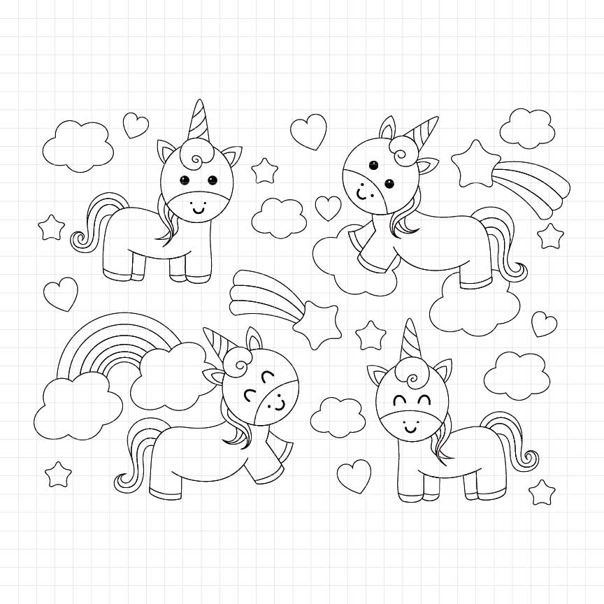Rainbow Unicorn Digital Stamp