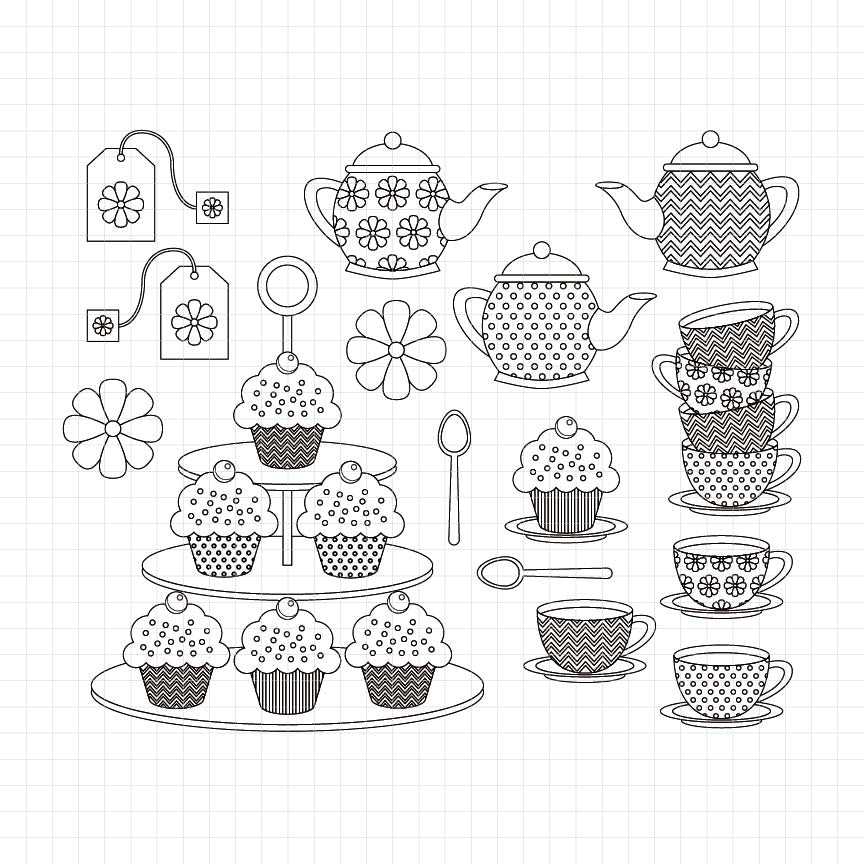 tea time, cupcake stand, teapot, teacup, teabags, digital stamp, black and white, graphic, illustrations
