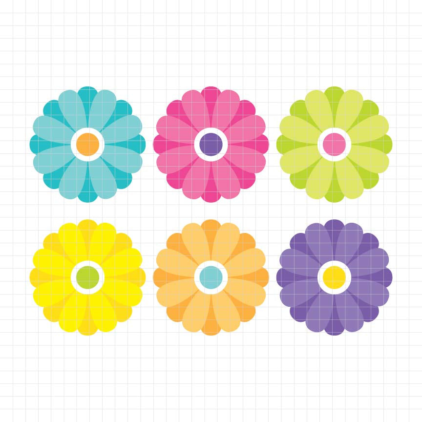 Colorful Flowers Freebie Digital Clipart