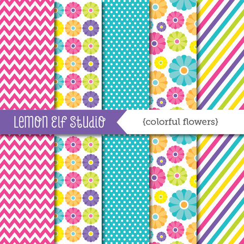 Colorful Flowers-Freebie Digital Paper (LES.FBDP01)