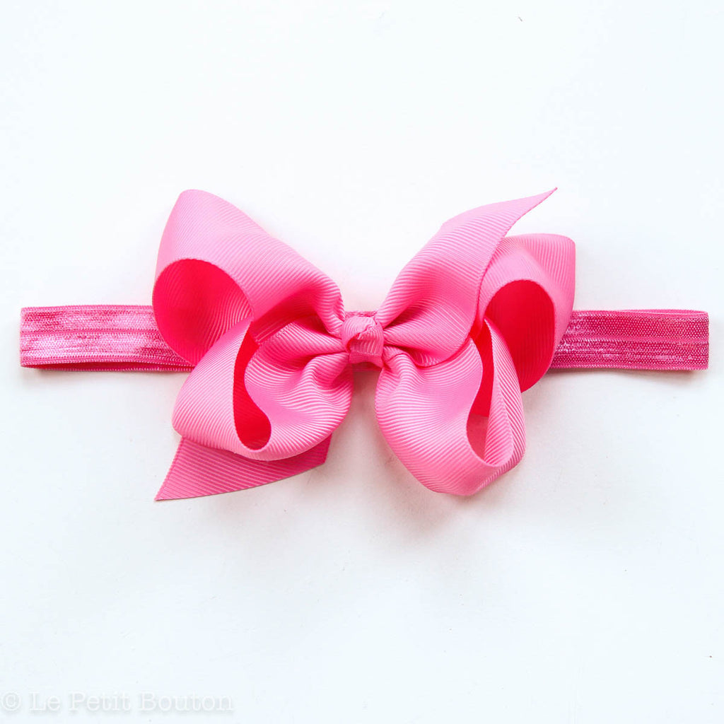 "Medium Bow Headband ""Harper"" Hot Pink - Le Petit Bouton"