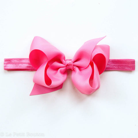 "Medium Bow Headband ""Harper"" Hot Pink"