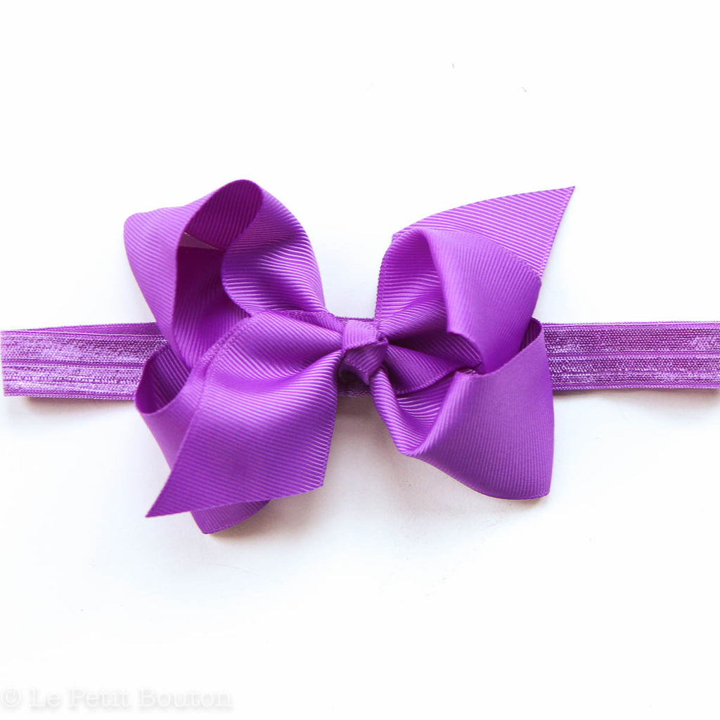 "Medium Bow Headband ""Karly"" Grape - Le Petit Bouton"