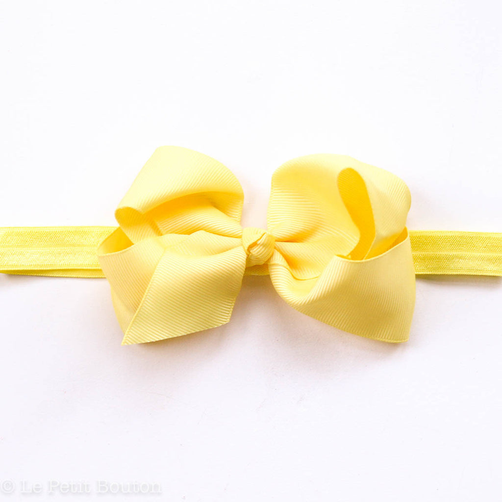 "Medium Bow Headband ""Isla"" Sunshine Yellow - Le Petit Bouton"