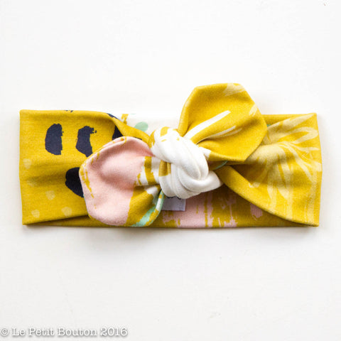 Organic Cotton Top Knot Headband - Mustard Abstract