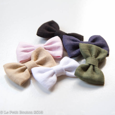 "AW16 Linen Bow Headband ""Candice"" Denim - Le Petit Bouton"