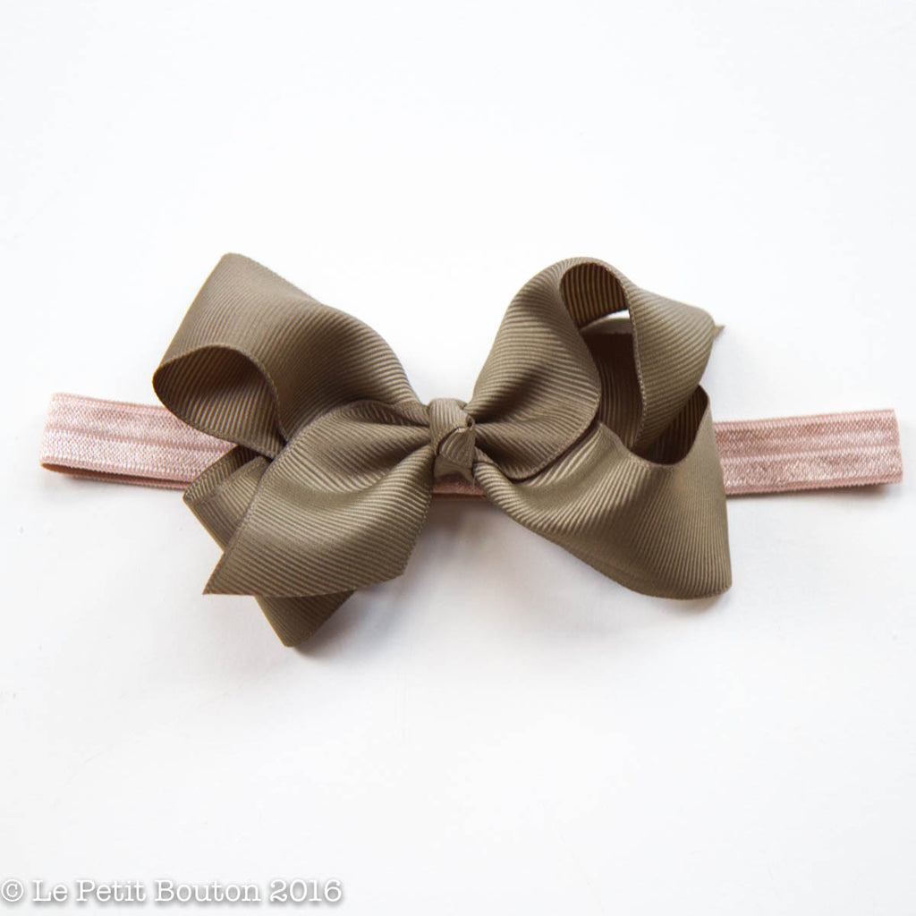 "AW16 Medium Bow Headband ""Braken"" Khaki and Taupe - Le Petit Bouton"