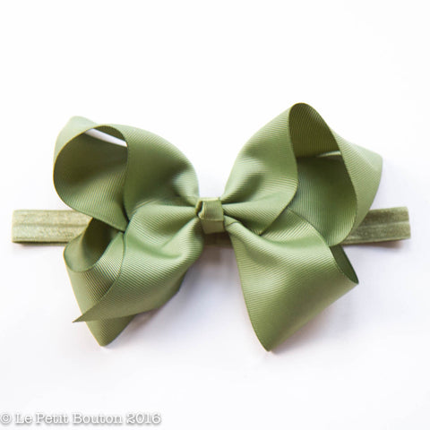 "Large Bow Headband ""Felicia"" Sage"