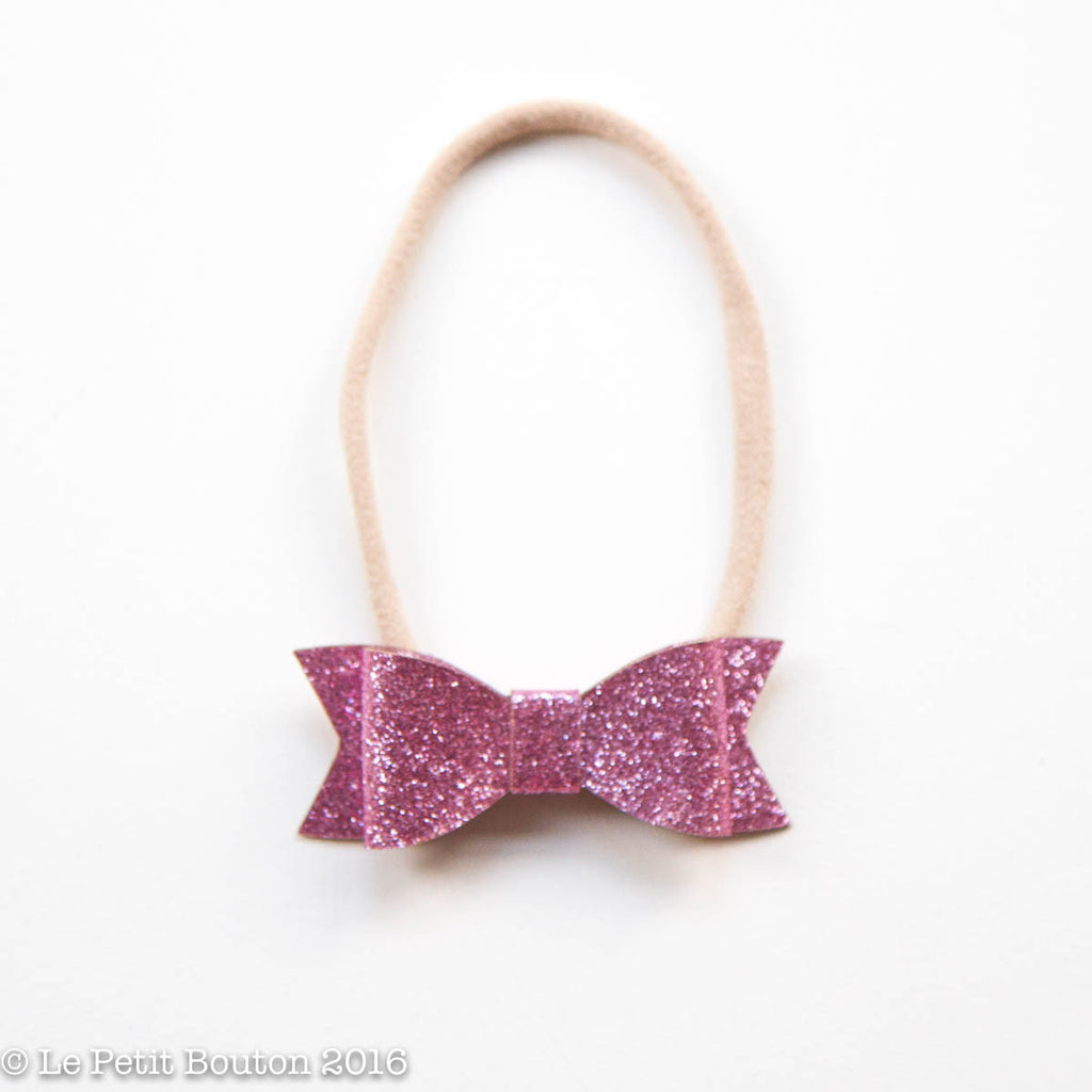 "AW16 Faux Leather Bow Headband ""Luisa"" Pink Glitter - Le Petit Bouton"