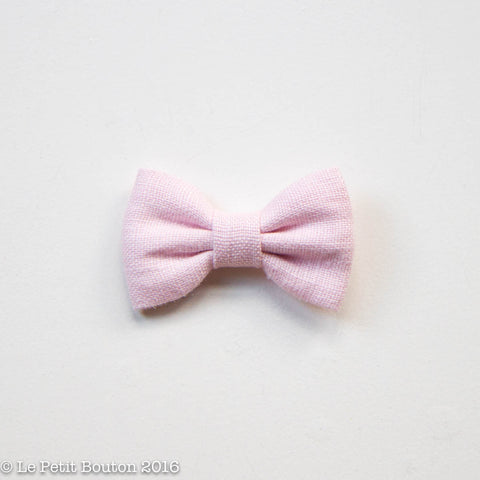 "AW16 Linen Bow Clip ""Hannah"" Pink"