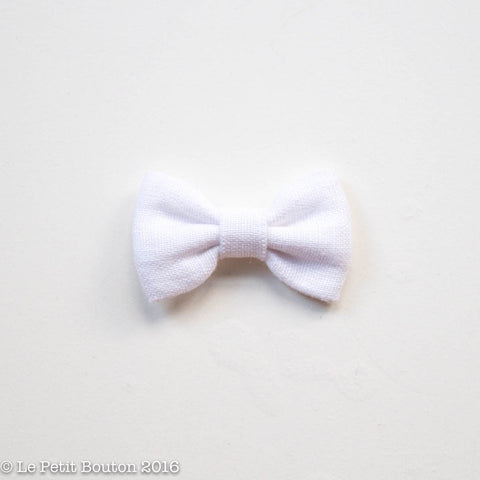 Christmas Small Linen Bow Clip - Angel White