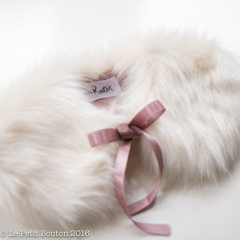 "Luxe Faux Fur Collar ""Lisa"" French Creme' & Dusty Pink"