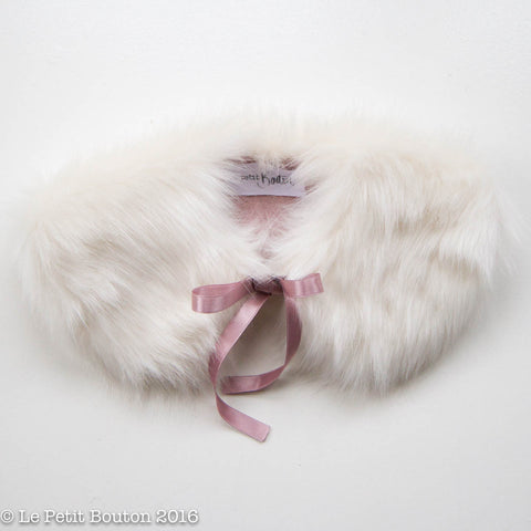 "Luxe Faux Fur Collar ""Lisa"" French Creme' & Dusty Pink - Le Petit Bouton"