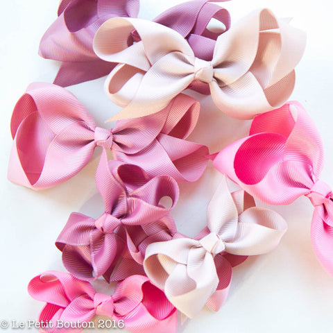 "Medium Ribbon Bow Hairclip ""Alana"" Plush Pink - Le Petit Bouton"