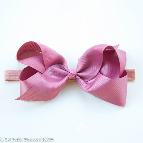 "Large Ribbon Bow Headband ""Jessie"" lush dusty pink"