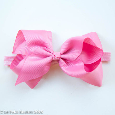 "Large Ribbon Bow Headband ""Vicki"" Vintage Rose"