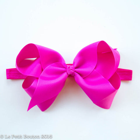 "Large Ribbon Bow Hairclip ""Lolo"" La de dah pink"