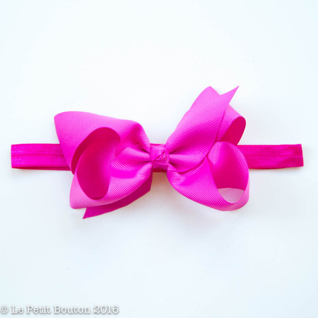 "Medium Ribbon Bow Headband ""Bridget"" Raspberry Rose - Le Petit Bouton"