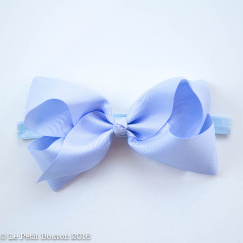 "Large Ribbon Bow Headband ""Felecia"" French Blue"