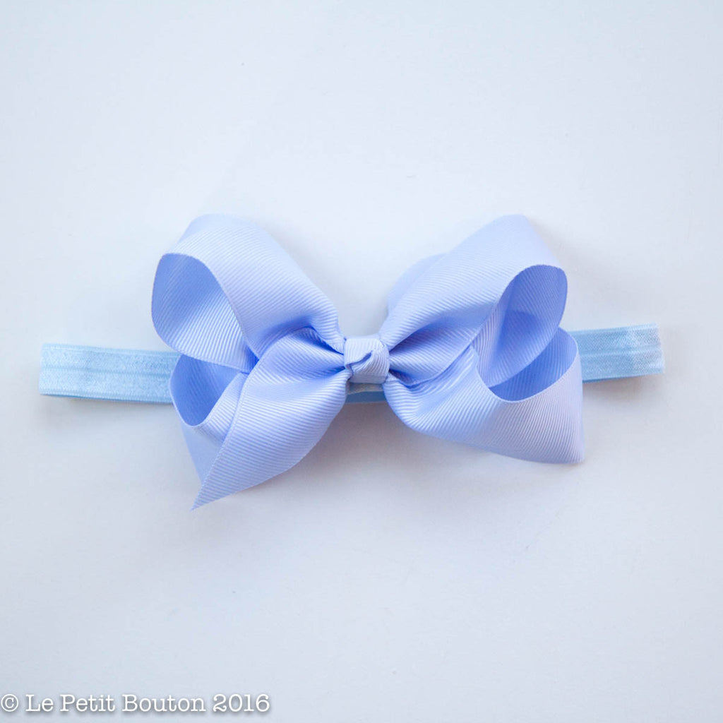 "Medium Ribbon Bow Headband ""LouLou"" French Blue - Le Petit Bouton"