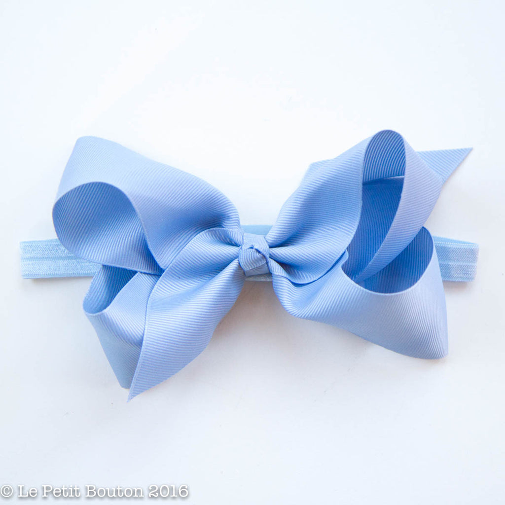 "Large Ribbon Bow Headband ""Anastasia"" Airy Blue - Le Petit Bouton"
