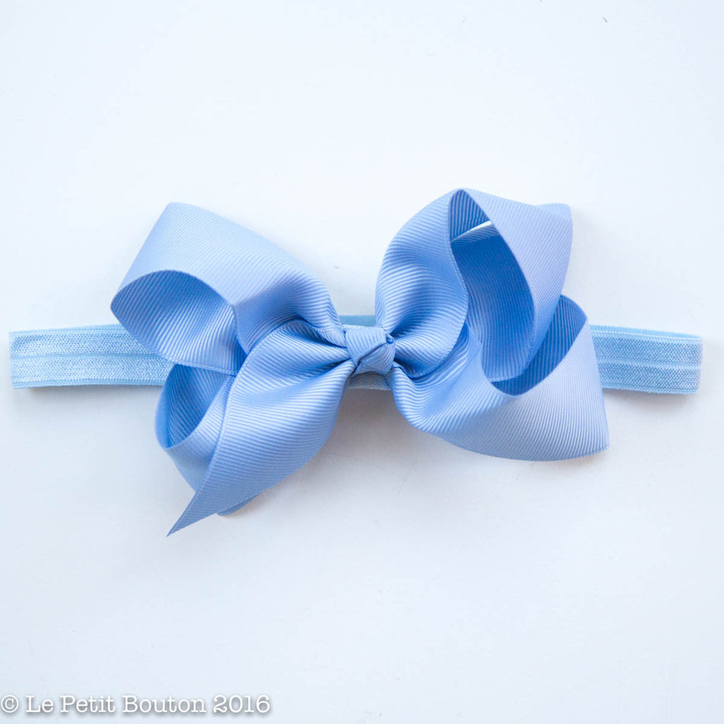 "Medium Ribbon Bow Headband ""Amity"" Airy Blue - Le Petit Bouton"