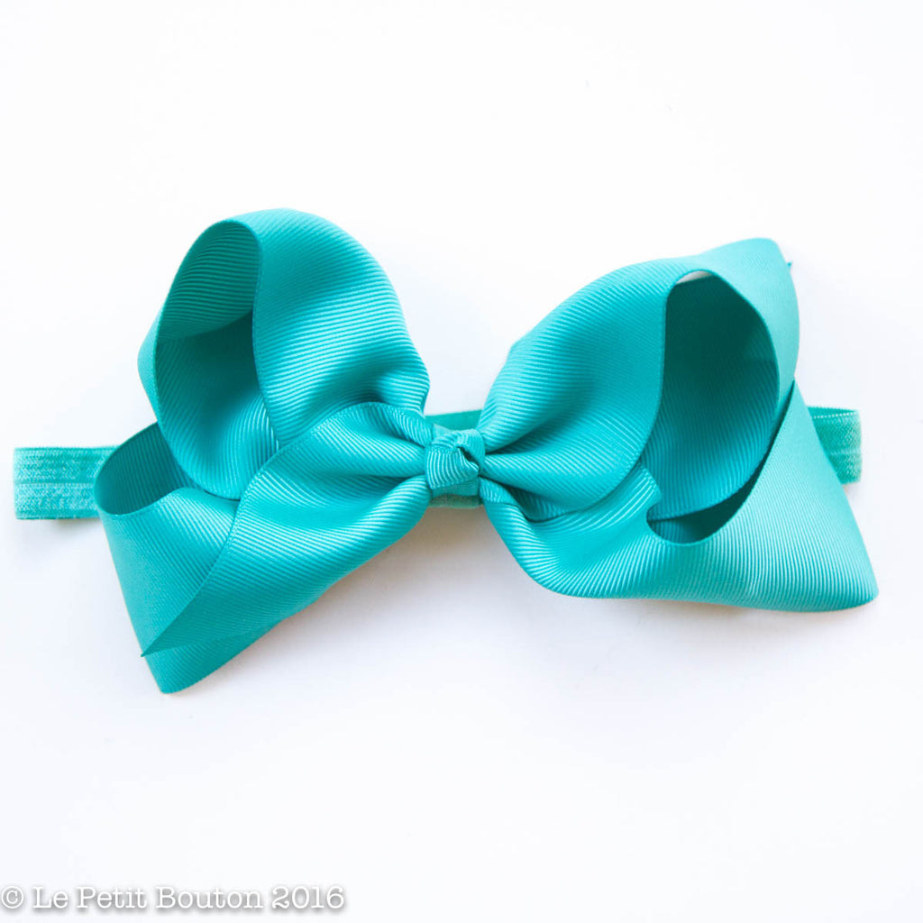 "Large Ribbon Bow Headband ""Tegan"" Teal - Le Petit Bouton"