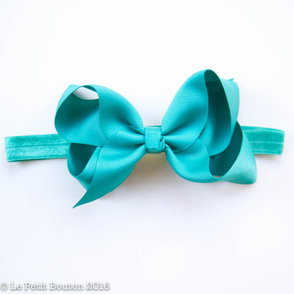 "Medium Ribbon Bow Headband ""Penny"" Teal - Le Petit Bouton"