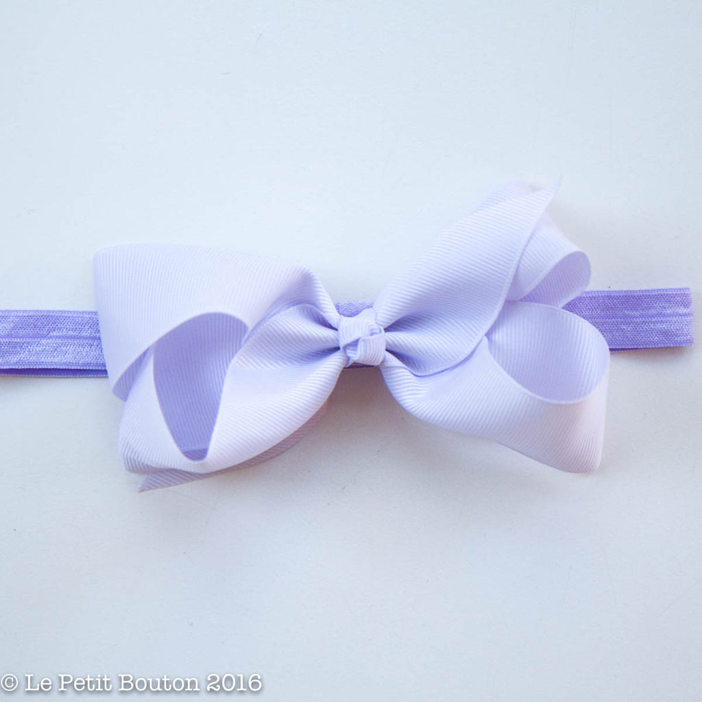 "Medium Ribbon Bow Headband ""Victoria"" Serene - Le Petit Bouton"