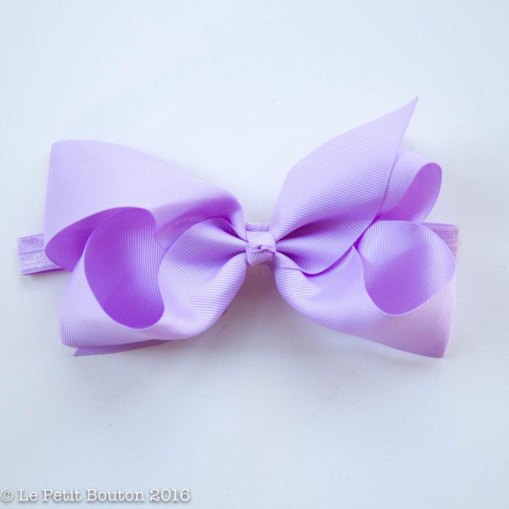 "Large Ribbon Bow Headband ""Olly"" Orchid Bloom - Le Petit Bouton"