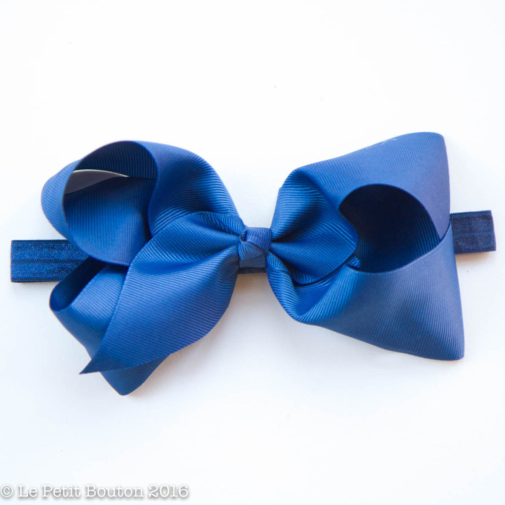 "Large Ribbon Bow Headband ""Letti"" Light Navy - Le Petit Bouton"