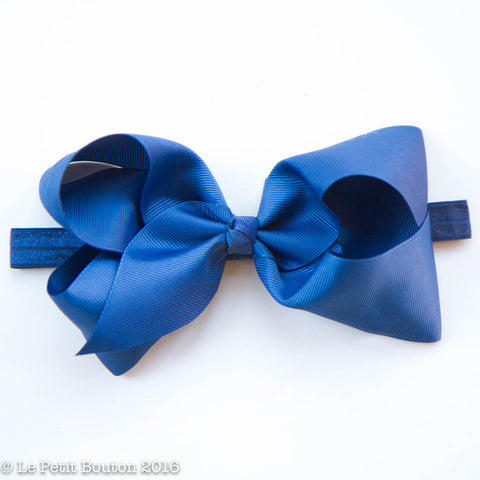 "Large Ribbon Bow Headband ""Letti"" Light Navy"