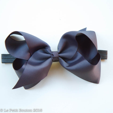 "Large Ribbon Bow Headband ""Patti"" Charcoal"