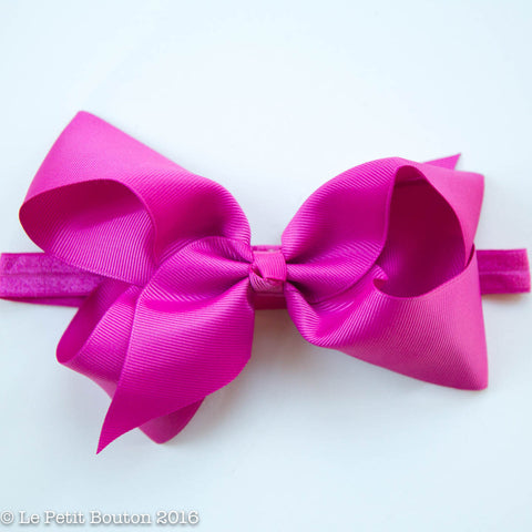 "Large Ribbon Bow Headband ""Bethany"" Raspberry Rose"
