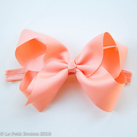 "Large Ribbon Bow Headband ""Chrissie"" Peach"