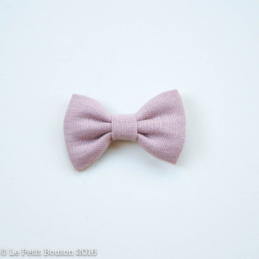 "Linen Bow Hairclip "" "" Dusty Pink - Le Petit Bouton"