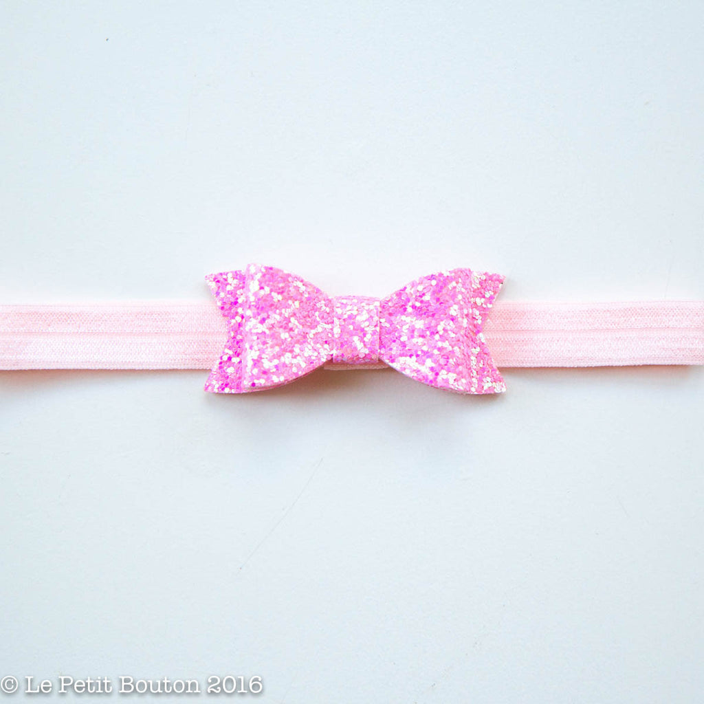"Faux Leather Bow Hairclip "" "" Glitter Pink Small - Le Petit Bouton"